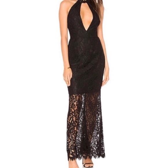 BB Dakota Dresses & Skirts - NWT BB DAKOTA Lace Maxi Dress [Halter] [Black] [0]